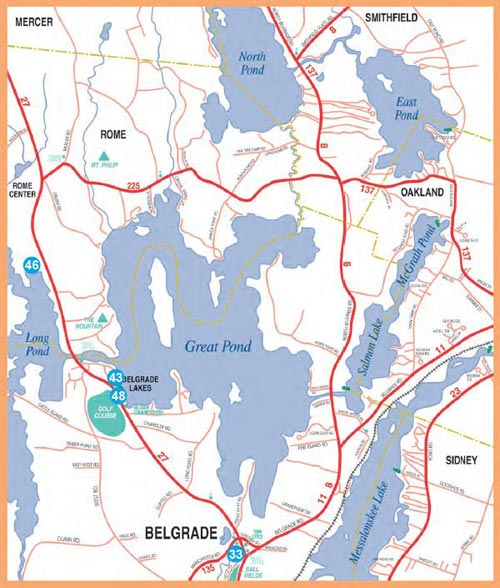 Map Of Maine Lakes.Belgrade Mid Maine Chamber Of Commerce