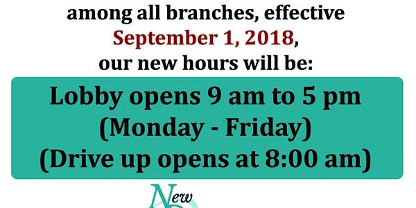 New Dimensions FCU to change business hours in September!!