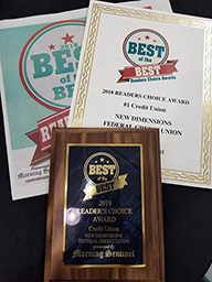 New Dimensions FCU was voted #1 Reader's Choice in the Credit Union Category!
